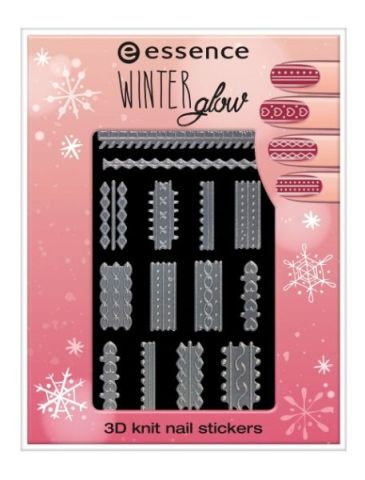essence winter glow 3D knit nail stickers